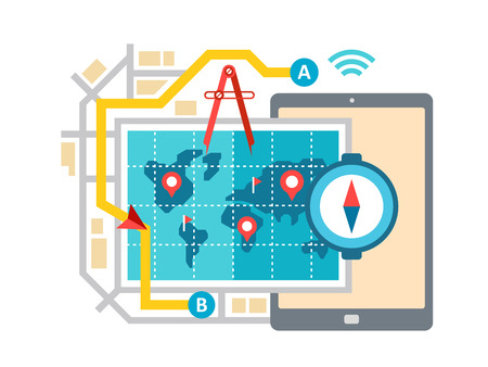 routing: GPS map navigation and routing concept flat vector illustration