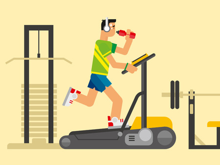 physical exercise: Athlete running on a treadmill concept flat vetor illustration