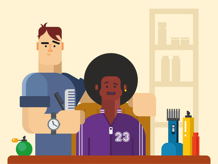black barber: People in the Barber shop vector concept flat illustration