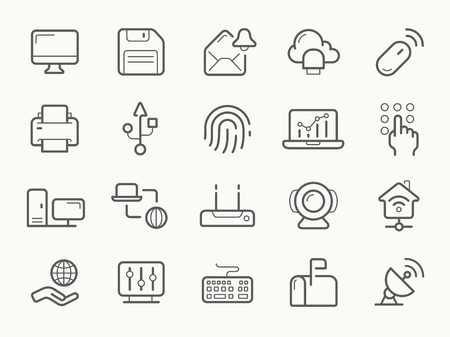 security icon: Network Communication and Electronics line vector icons