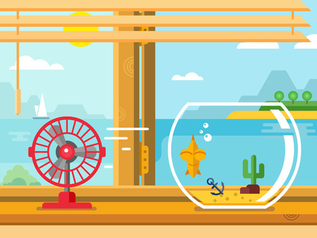 open fan: Fan and Aquarium on windowsill next to open window concept flat vector illustration
