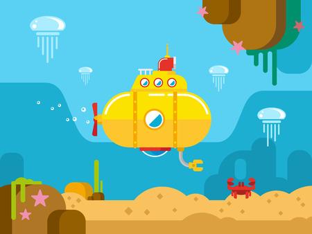 cangrejo caricatura: Submarino bajo el concepto de agua vector plana ilustraci�n