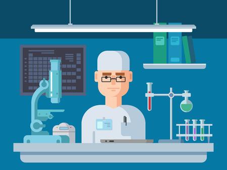 hospital dibujo animado: El doctor se sienta en el laboratorio. Salud y la investigación médica Ilustración vectorial plana