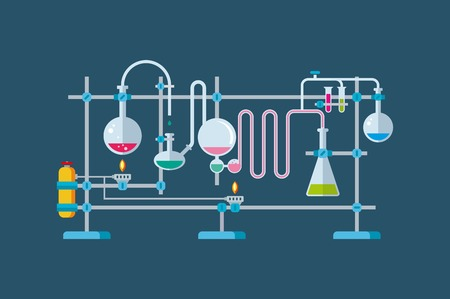 science icons: Flat illustration of chemical laboratory equipment objects with a series of flasks and beakers various shapes. Illustration
