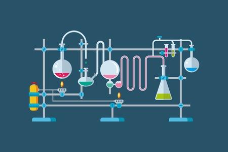Ilustración plana de objetos Equipo de laboratorio químico con una serie de frascos y vasos de diversas formas.