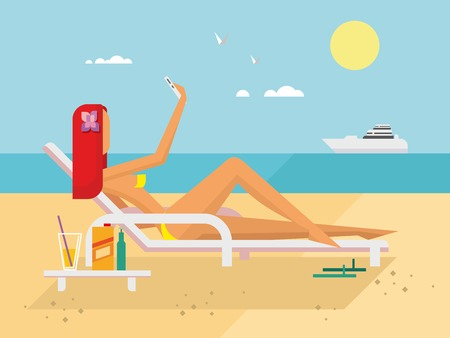 beach side: Sunbathing girl on the beach doing selfie flat illustration