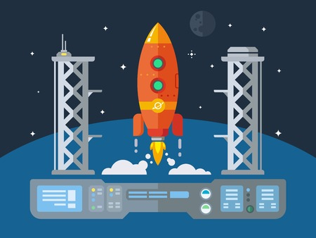 spaceport: Rocket Startup Flat Desing Concept illustration in retro style Illustration