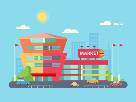 shopping center: Supermarket building facade with parking infront of it, flat vector illustration.