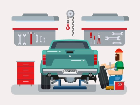 tire shop: Auto mechanic fixing car in auto repair garage flat vector illustration