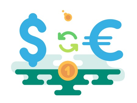 a concept: Dollar Euro Currency Exchange concept vector illustration flat design Illustration
