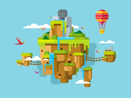 Imaginary soaring island on a blue sky background concept flat illustration. Illustration
