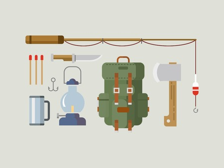 fishing rods: Fishing hunting concept flat vector icon set Illustration