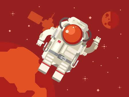 weightlessness: Astronauts in outer space concept vector illustration in flat style.