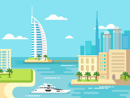 waterfront: Dubai city beach skyline concept flat vector illustration Illustration