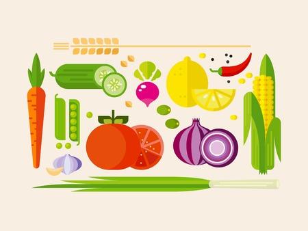 verduras verdes: Las frutas y verduras iconos vectoriales planos, aislados ilustración