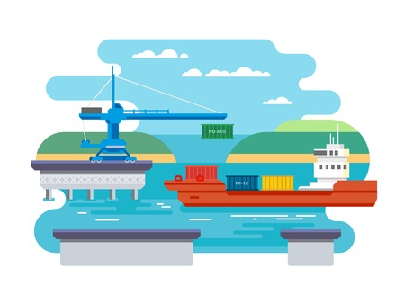 to unload: Cargo freight shipping by water. Transport and container, industrial and logistic flat vector illustration Illustration
