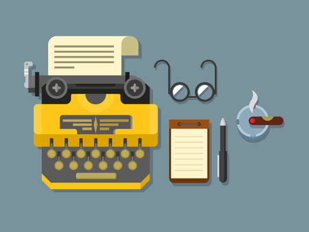 typewriter: Typewriter with sheet of paper, glasses, notepad, cigar and pen on surface flat vector illustration.
