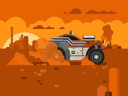 Sunset landscape vector: Retro Car Driving through desert on sunset landscape concept flat vector illustration.