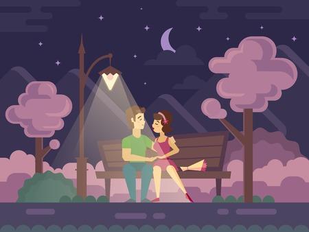 romaans: Kussen paar op een bankje in de nacht plat vector illustratie