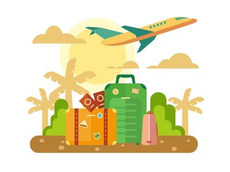 baggage: Summer vacation, travel theme with luggage and plane flying out on sunset background concept flat vector illustration.