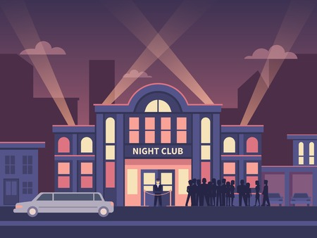 나이트 클럽 풀 하우스 건물. 일러스트