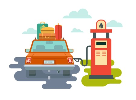 refuel: Refuel car at gas station concept flat illustration Illustration