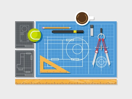 blueprints: Blueprint with ruler, compass, cup of coffee and pencil top view concept flat illustration.