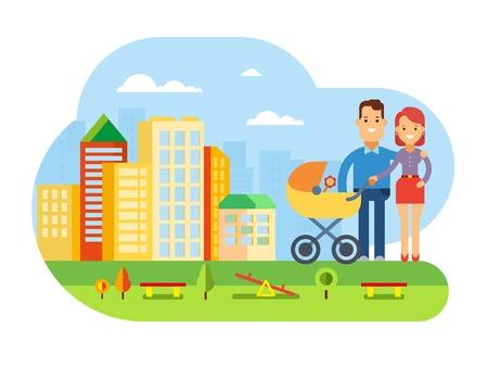 都市景観概念フラット ベクトル図で赤ちゃんと一緒に幸せな若い家族のベビーカーで赤ちゃんと幸せな若い家族