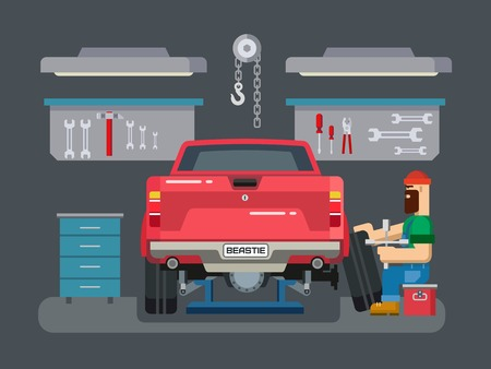 workshop: Auto mechanic fixing car in auto repair garage flat vector illustration
