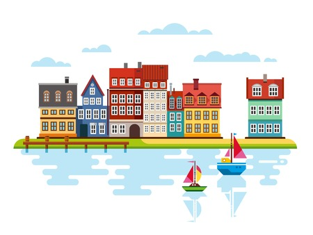 harbor: Harbor, waterfront with boats on river vector flat illustrations