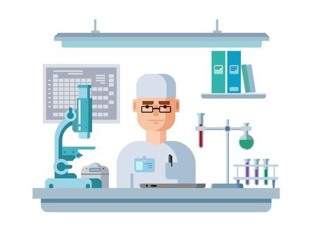 医師は、研究室に座っています。健康・医療研究フラット ベクトル図 写真素材 - 42521217