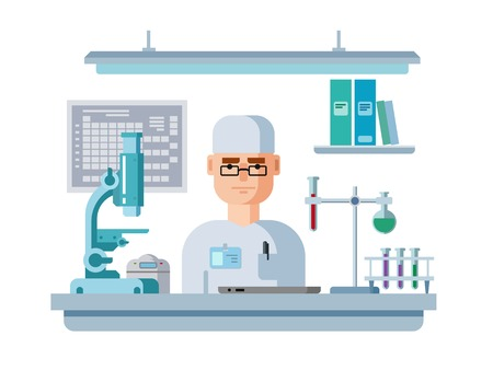 Doctor sits in the laboratory. Healthcare and medical research flat Vector illustration Ilustrace