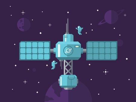 Estación espacial con astronautas en el exterior concepto de espacio ilustración vectorial en estilo plano. Vectores