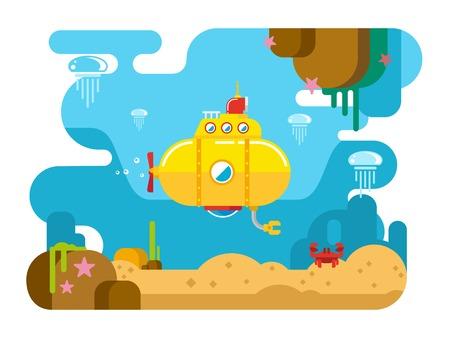water concept: Submarine under water concept vector flat illustration Illustration