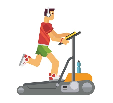 vetor: Athlete running on a treadmill concept flat vetor illustration
