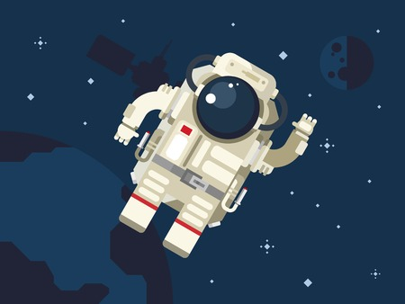 space station: Astronaut in outer space concept vector illustration in flat style.