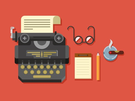 writing equipment: Typewriter with sheet of paper, glasses, notepad, cigar and pen on surface flat vector illustration.