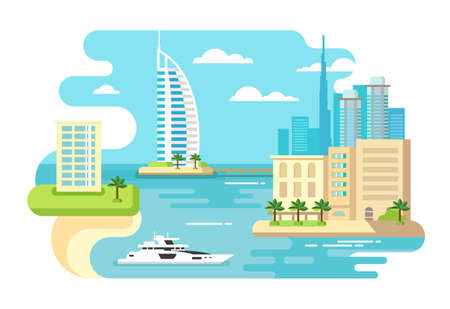 pier: Dubai city beach skyline concept flat vector illustration Illustration