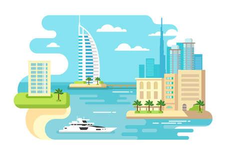 dubai: Dubai city beach skyline concept flat vector illustration Illustration