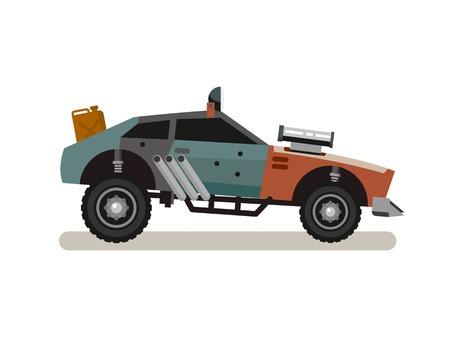 tuned: Tuned Retro Car concept flat vector illustration.