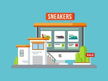 retail display: Online Shop Building vector concept flat illustration.