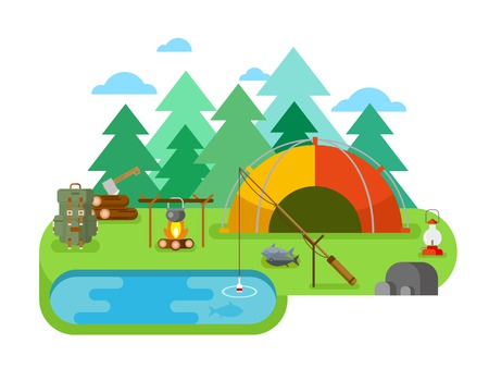 recreation: Outdoor recreation. Fishing camp.Tent and travel, recreation and picnic, backpack and camping, adventure tourism. Flat vector illustration