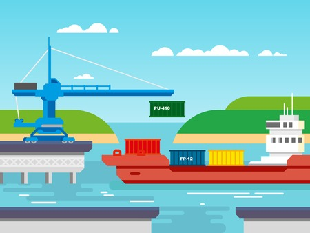 quay: Cargo freight shipping by water. Transport and container, industrial and logistic flat vector illustration.