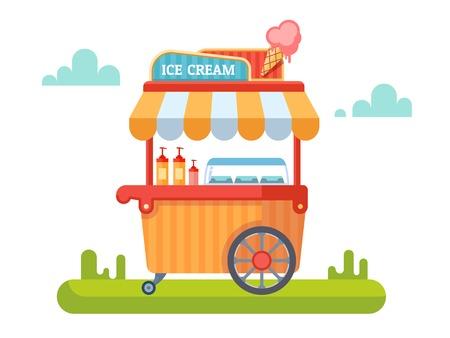 아이스크림이 달린 트롤리. 장바구니 및 스위트, 아이스크림, 키오스크 및 시장. 벡터 일러스트 레이 션