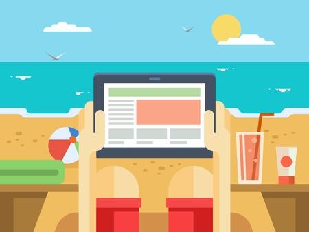 해변에서 디지털 태블릿입니다. 여름과 바다, 휴가 및 여행, 기술 및 열 대 휴가, 장치 및 화면, 평면 벡터 일러스트 레이 션 일러스트