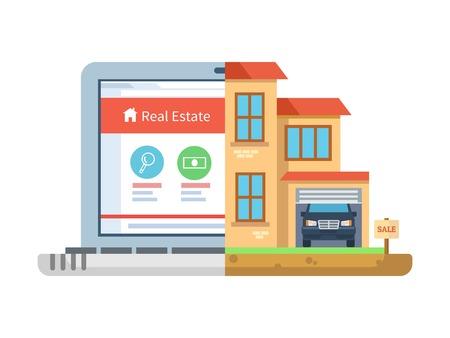 Makelaardij. Laptop en de bouw, geïsoleerd huis, woon symbool, concept online verkopen agentschap, huisje en herenhuis, marketing commerciële woonplaats. Vector illustratie Stock Illustratie