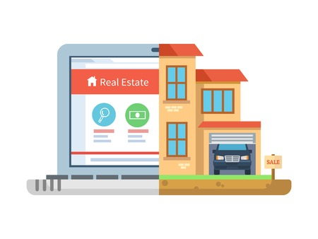 Real estate. Laptop and building, house isolated, residential symbol, concept online sell agency, cottage and mansion, marketing commercial residence. Vector illustration