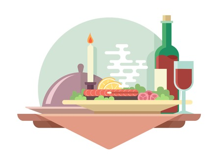 dishes set: Dinner at restaurant flat illustration. Vector eat and drink, glass of wine