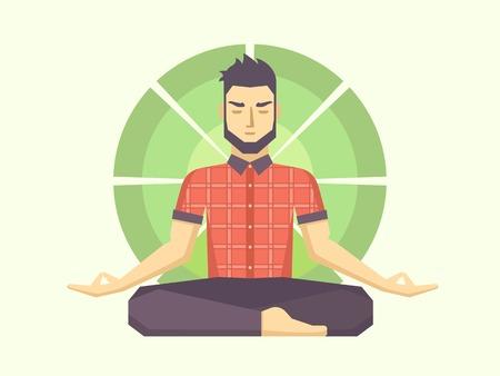 armonia: El hombre medita en la posici�n de loto. Pose calma, equilibrio mental, la armon�a, la energ�a espiritual, el cuerpo ejercicio sentada. Ilustraci�n vectorial Flat.