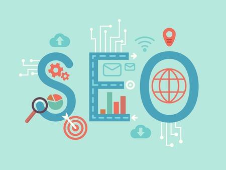 keywords link: SEO concept flat illustration. Optimization search engine, internet trend, vector icon sign.